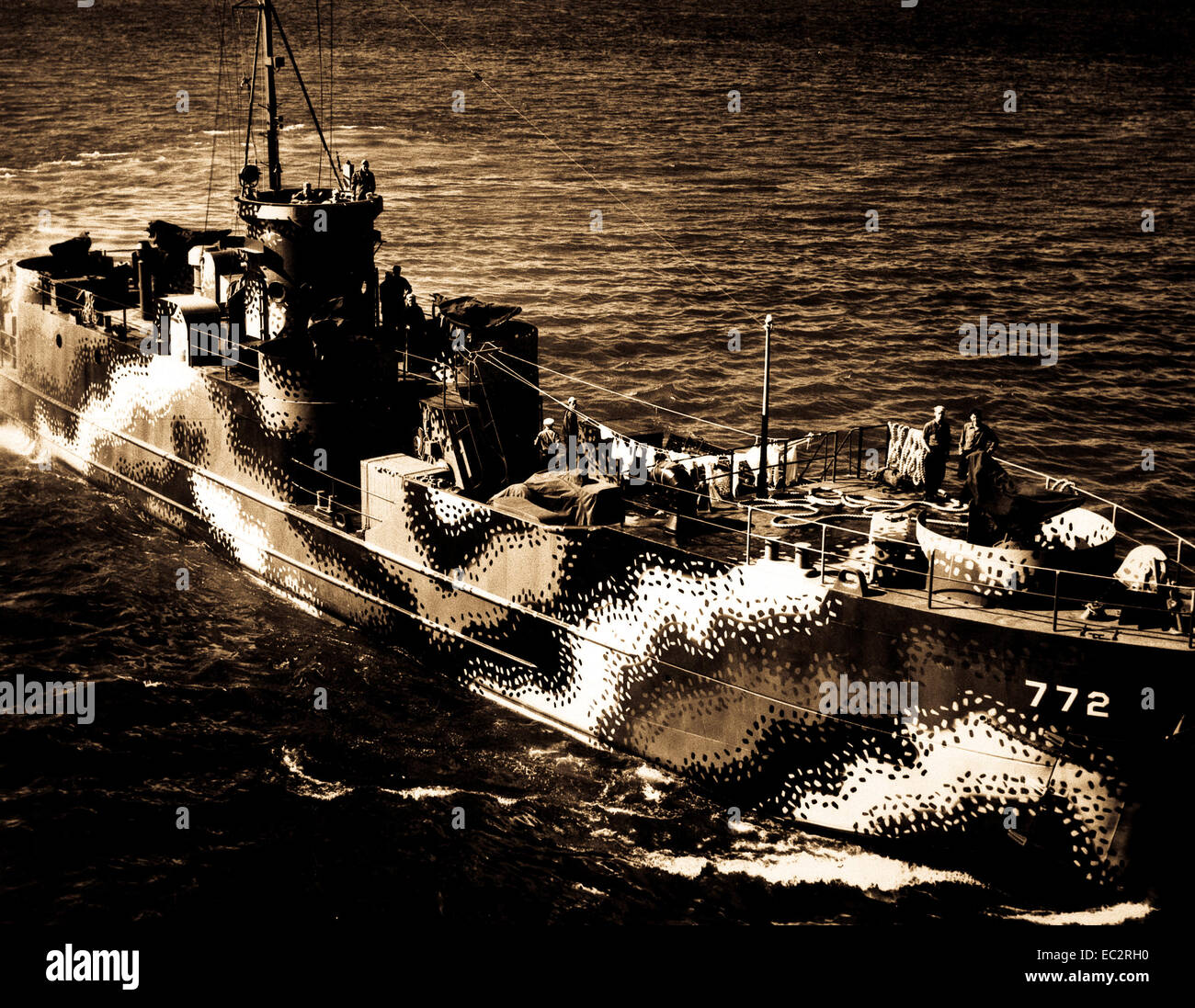 Starboard bow view of U.S. ship LCI 772, Astoria, OR, July 30, 1944.  PhoM2c. R.W. Mowday. (Navy)