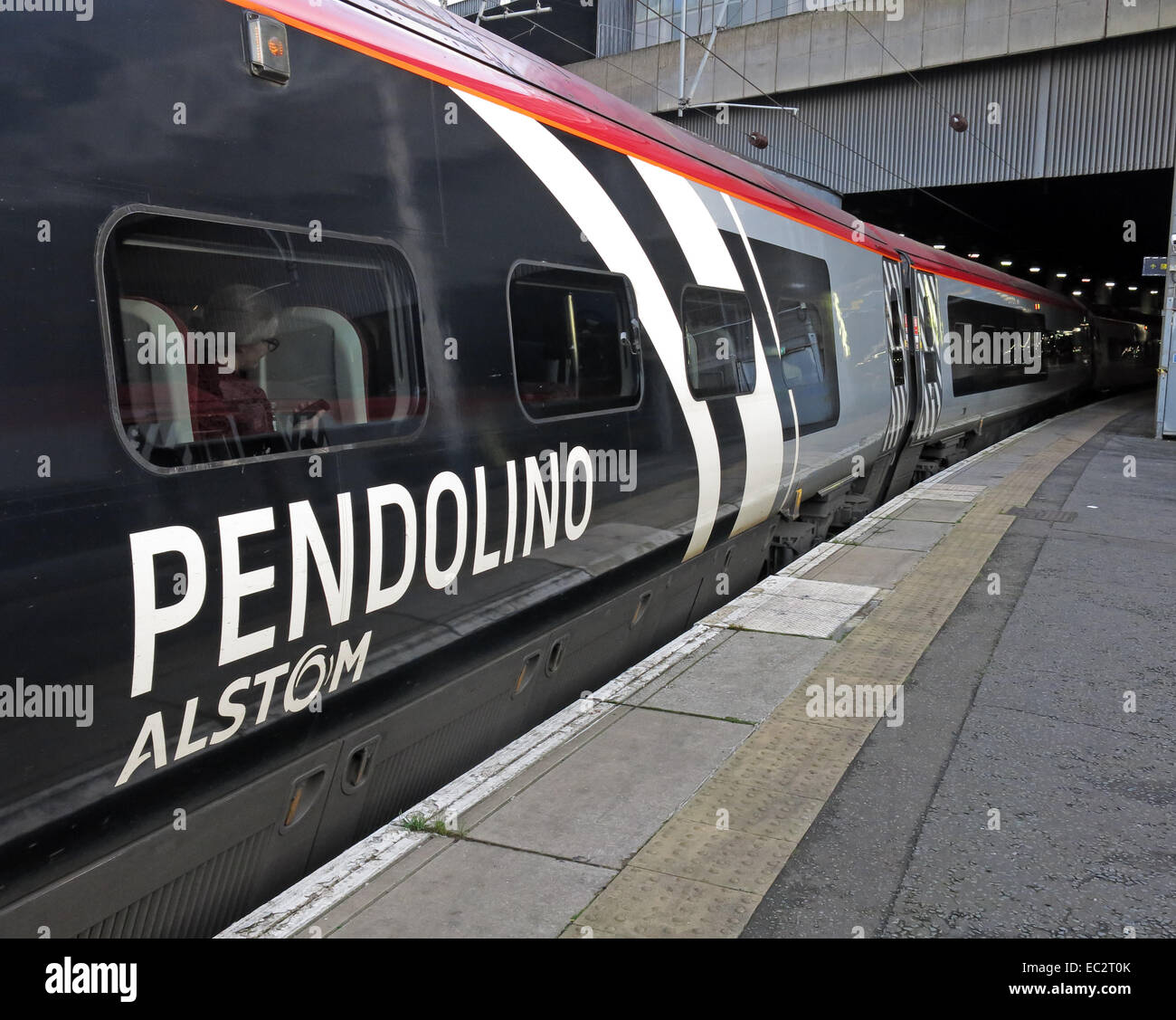 Alstom Pendolino express passenger train at Euston station London, England , UK - Stock Image