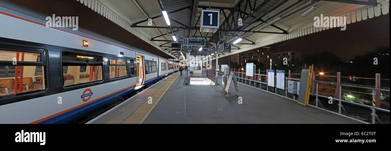 Clapham Junction platform One at night, London, England, UK - Stock Image