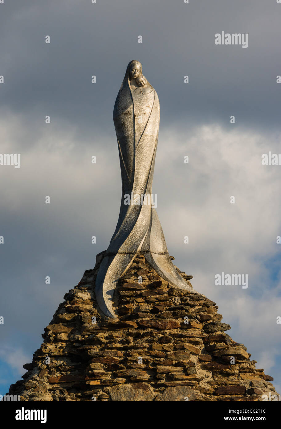 Our Lady of the Snows, 'Virgen de las Nieves', top statue by Francisco López Burgos, Sierra Nevada, - Stock Image