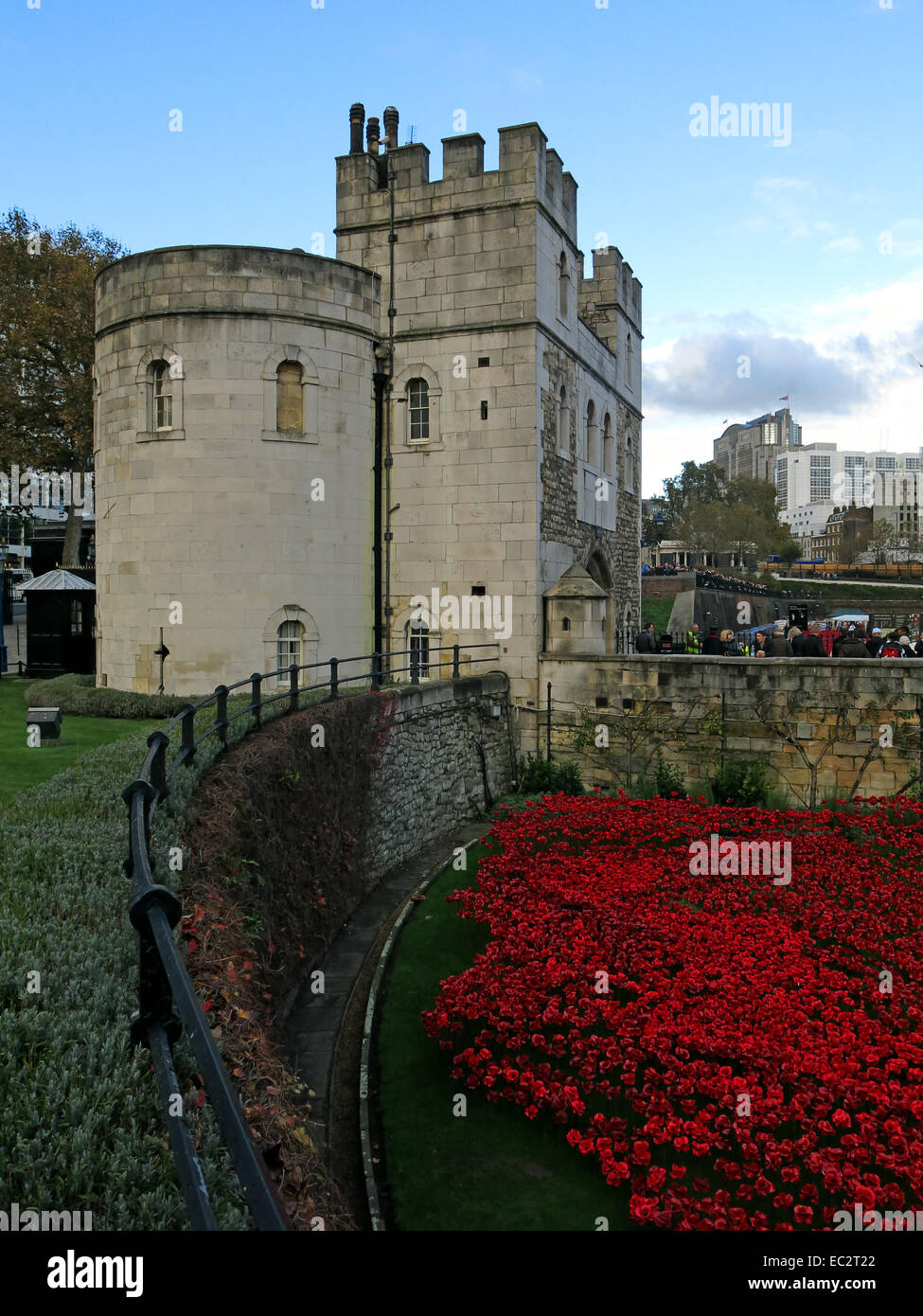 Blood Swept Lands and Seas of Red poppies, at west side of The Tower of London, England UK - Stock Image