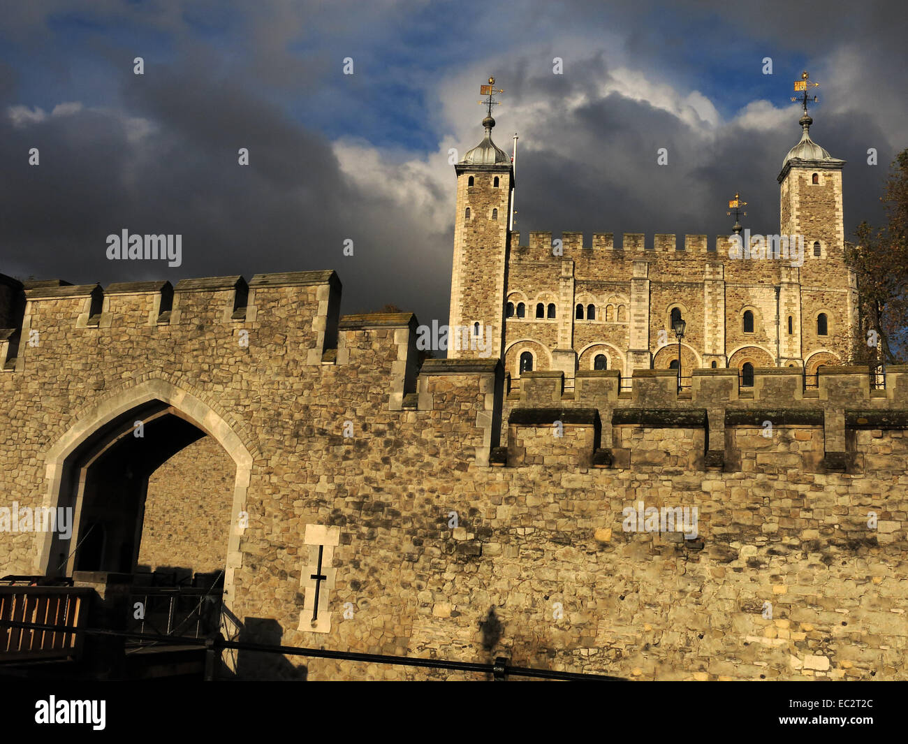 Tower of London with dramatic sky, City of London, England, UK Stock Photo