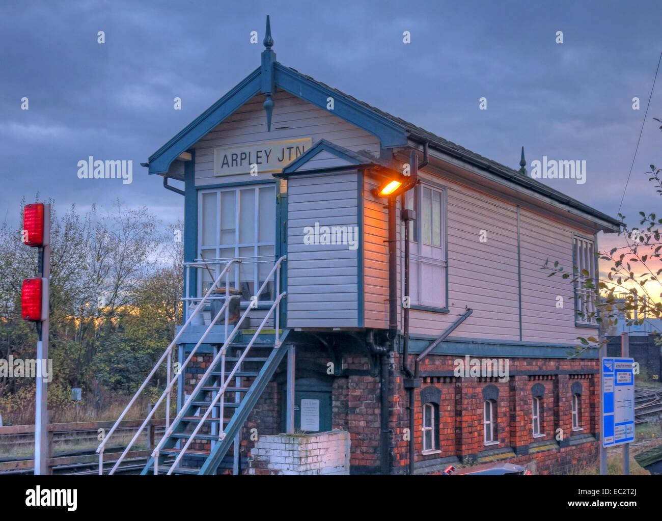 Arpley Junction Signalbox, Warrington, Cheshire, England, UK at dusk - Stock Image