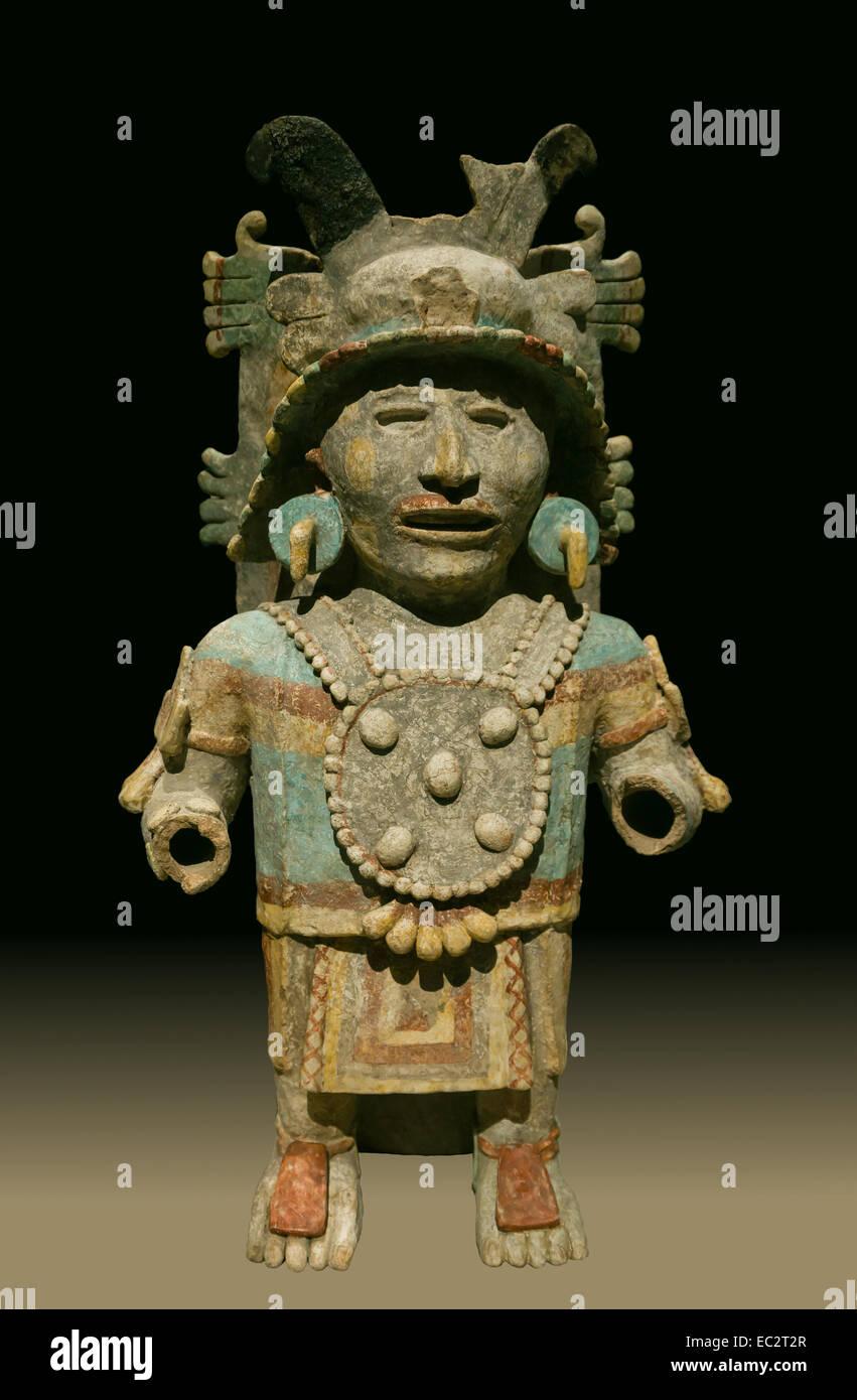 Maya anthropomorphic censer holder, Postclassic-recent (1250 - 1550 C.E.), ceramics. From museo Regional de antropologia - Stock Image