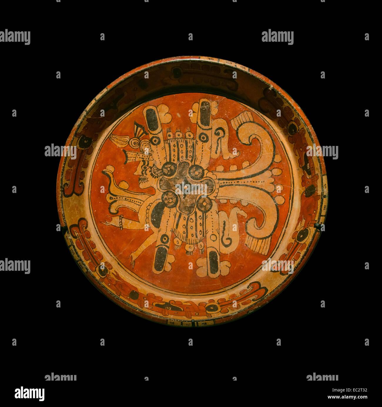 Maya plate, representing the planet Venus. Ceramics, Classic recent era (600 - 900 C.E.). From museo Regional de - Stock Image
