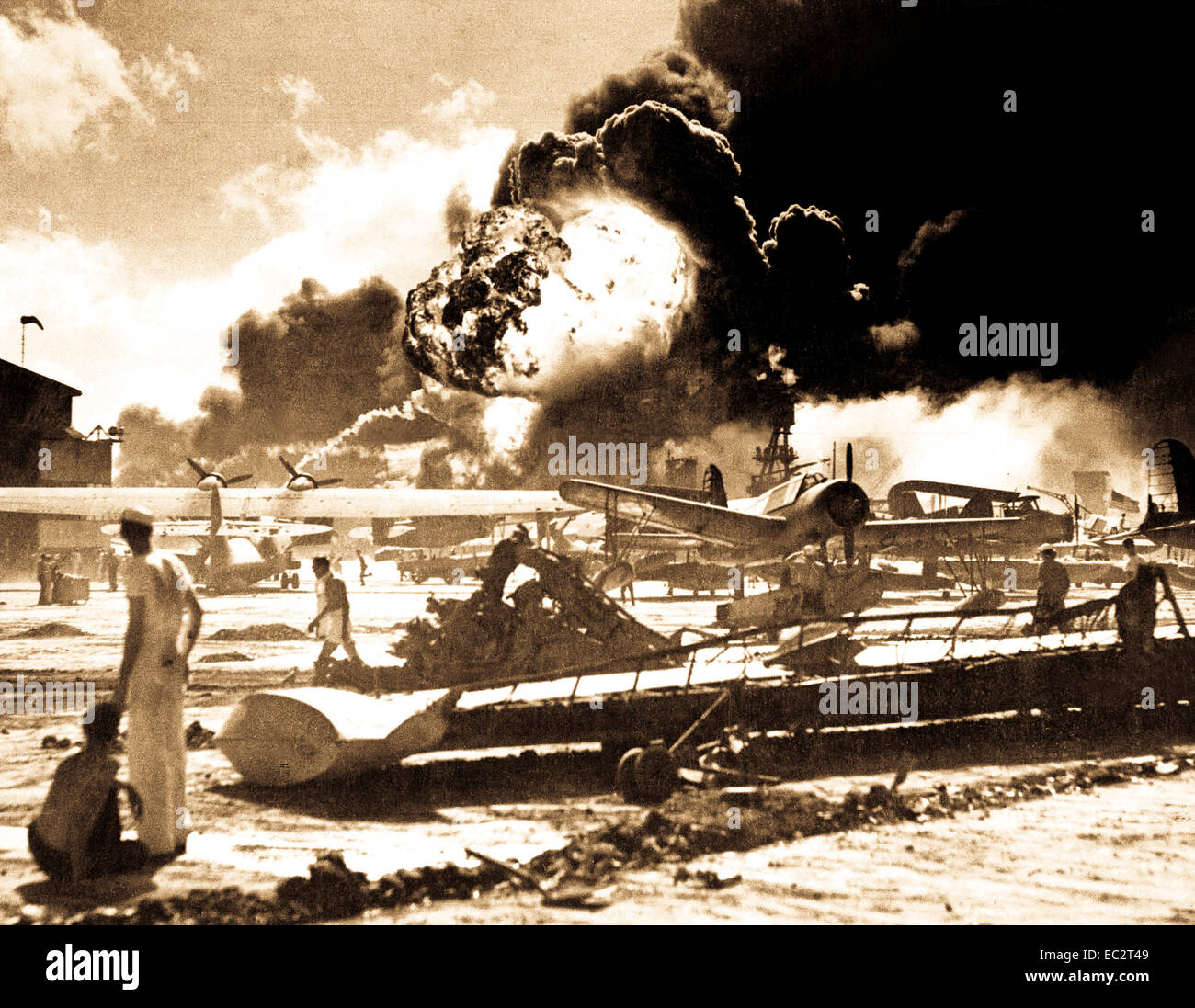 Captured Japanese photograph taken during the attack on Pearl Harbor, December 7, 1941.  In the distance, the smoke Stock Photo