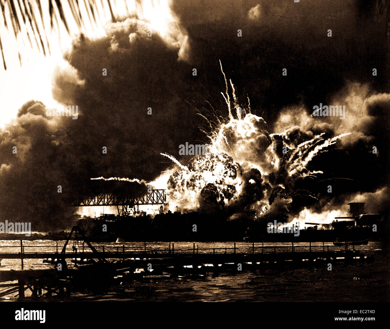 USS SHAW exploding during the Japanese raid on Pearl Harbor. December 7, 1941.  (Navy) Stock Photo