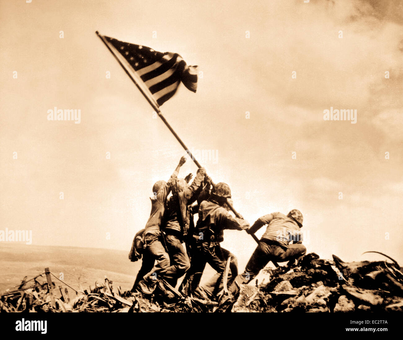 Flag raising on Iwo Jima.  February 23, 1945.  Joe Rosenthal, Associated Press.  (Navy) - Stock Image