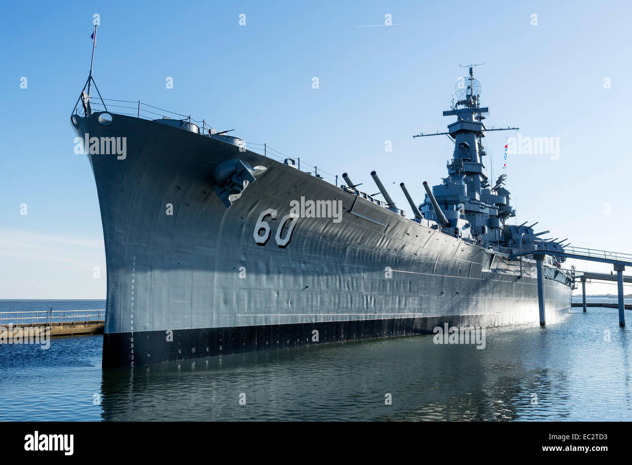 The USS Alabama (BB60) Battleship, Battleship Memorial Park, Mobile, Alabama, USA - Stock Image