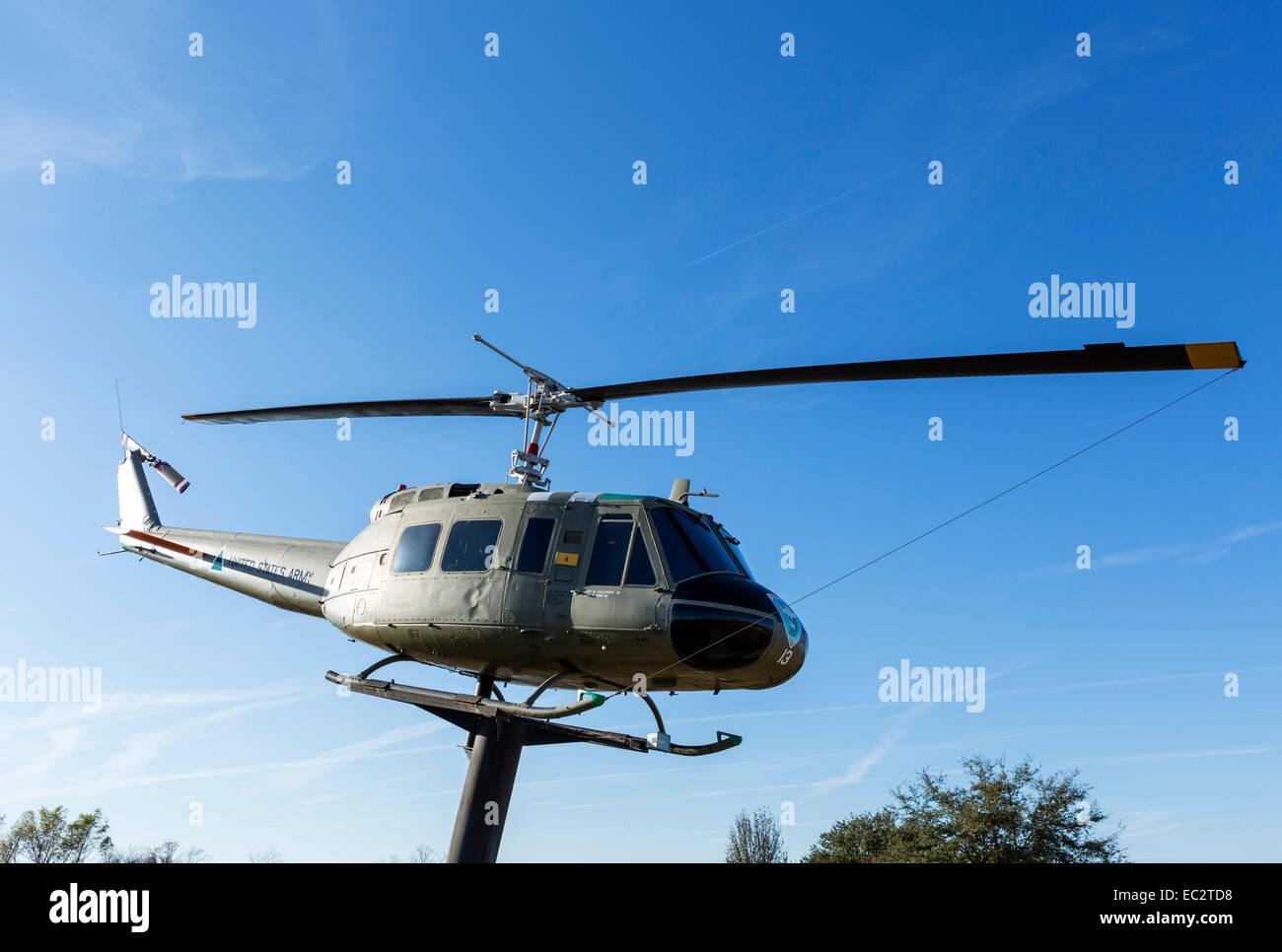 A Bell UH-1H 'Huey' helicopter at the USS Alabama Battleship Memorial Park, Mobile, Alabama, USA - Stock Image