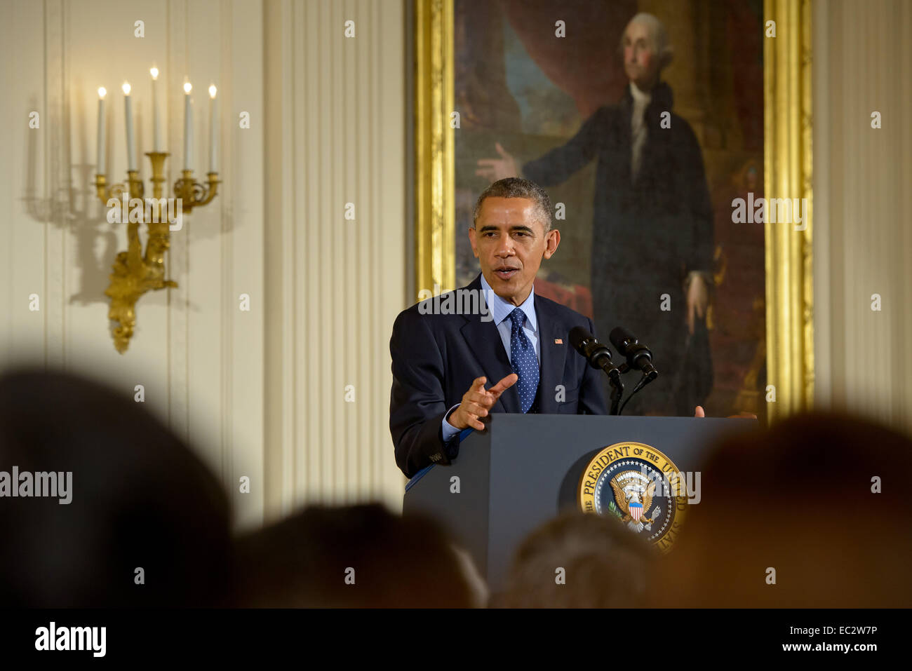 President Barack Obama delivers remarks at the National Medals of Science and National Medals of Technology and - Stock Image