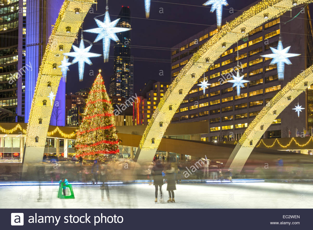 toronto christmas tree and decorations at city hall during the holiday season beautiful lights of