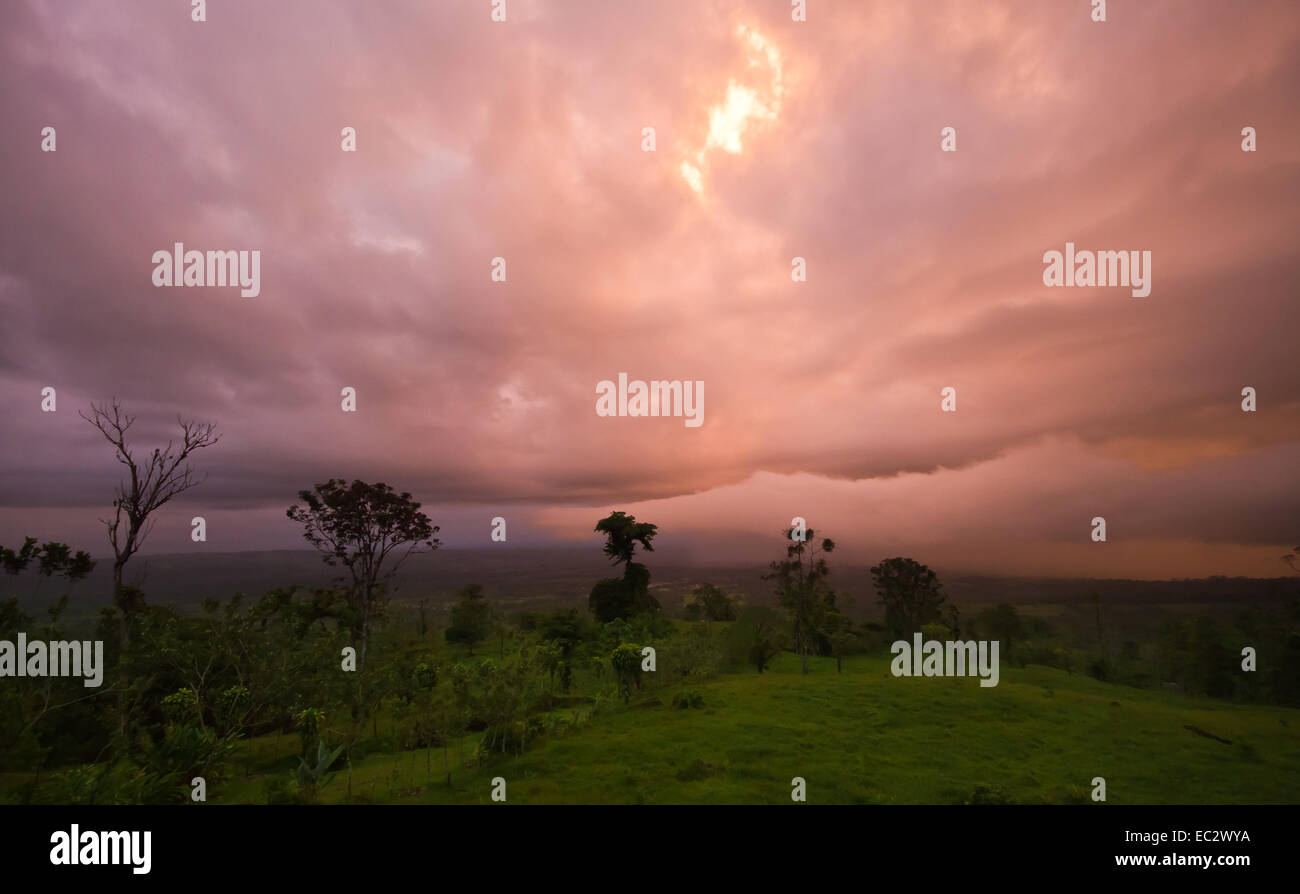 Stormy Sunset over Costa Rica's Northern Plains - Stock Image