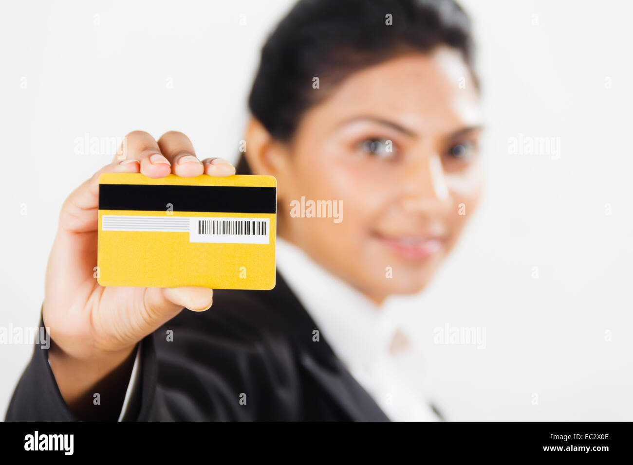 Indian lady showing credit card stock photos indian lady showing indian business woman showing credit card stock image reheart Images