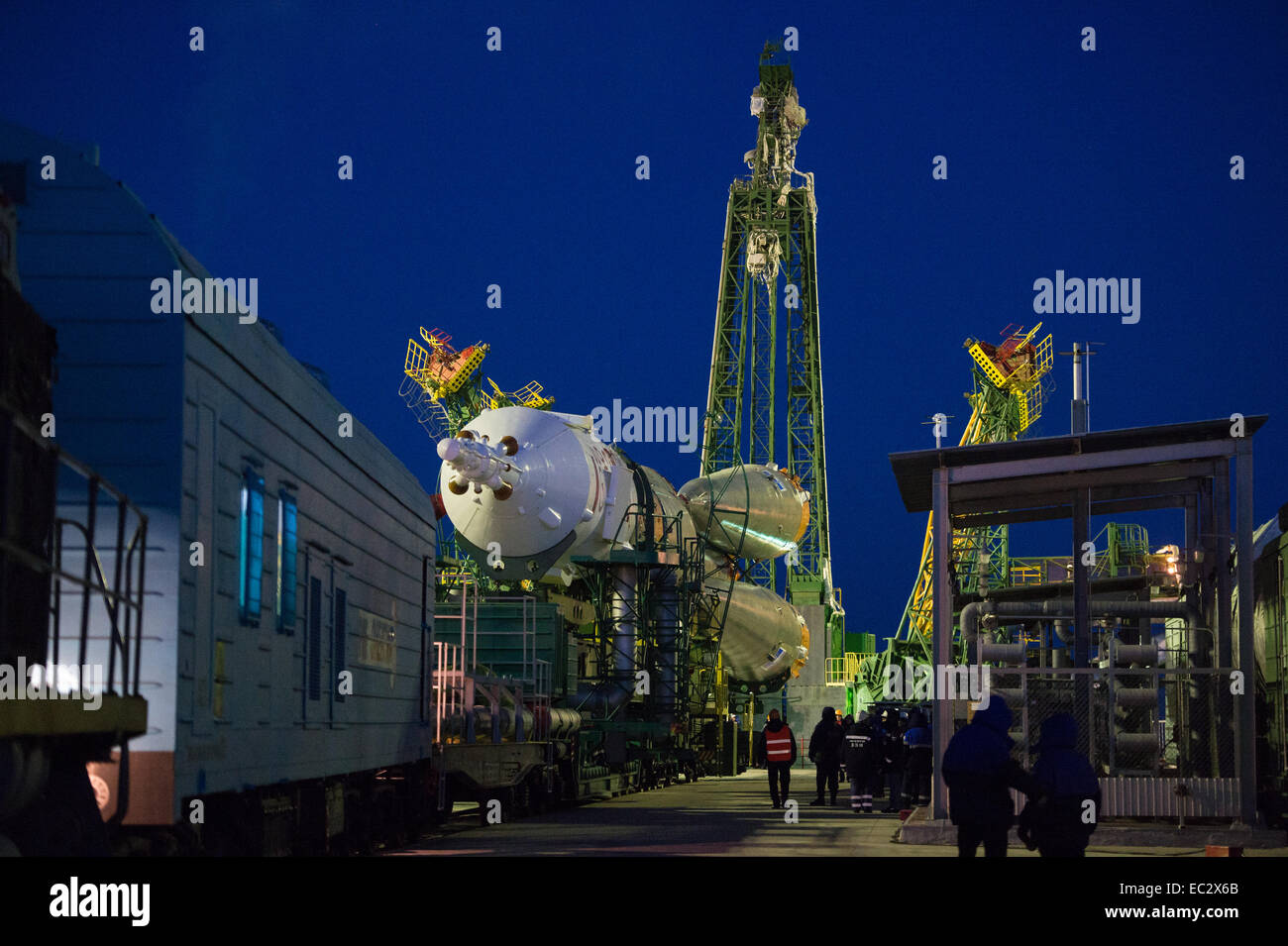 The Soyuz TMA-15M spacecraft is seen shortly after arriving at the launch pad by train on Friday, Nov. 21, 2014, - Stock Image