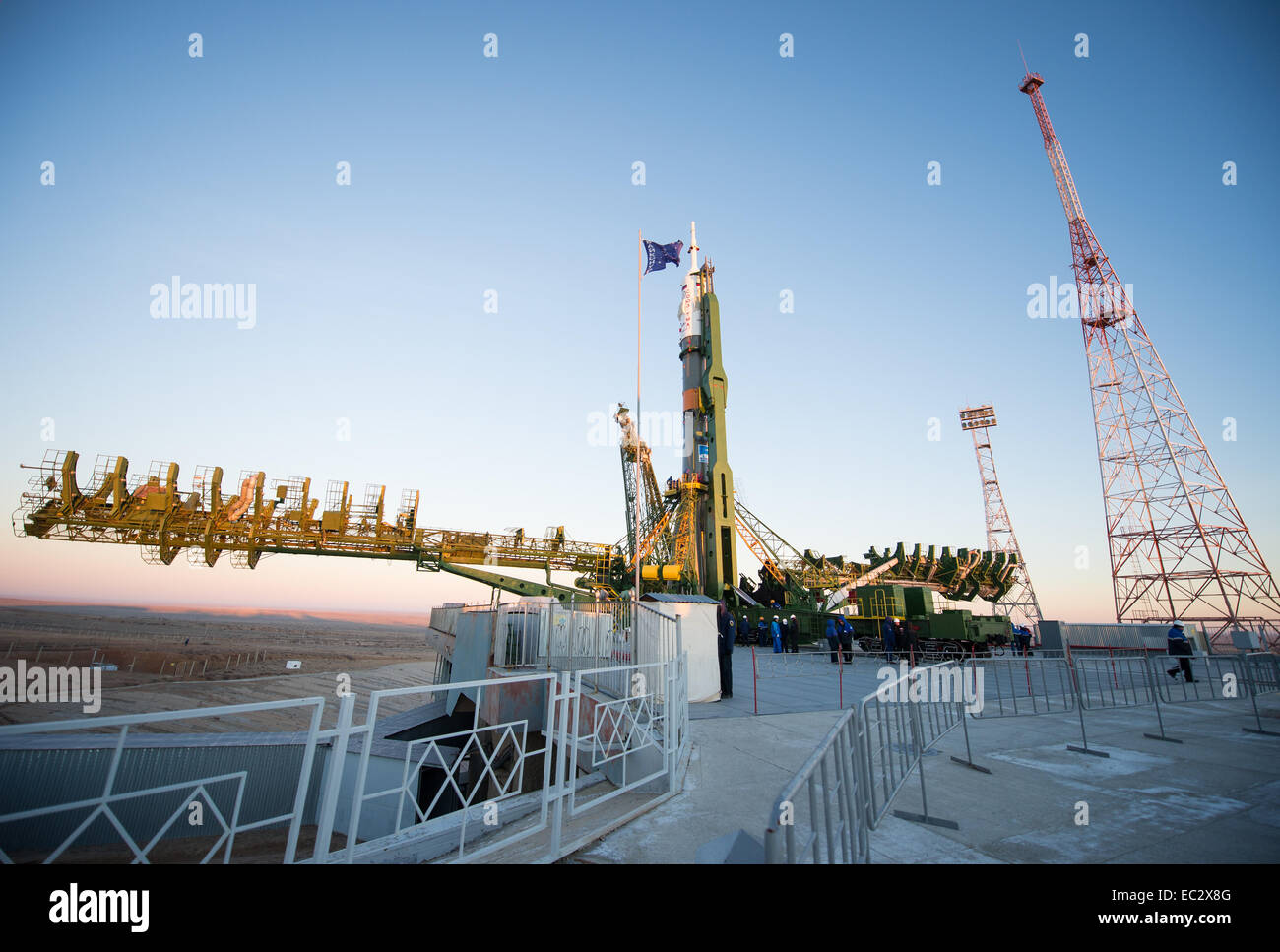 The Soyuz TMA-15M spacecraft is seen after being raised into a vertical position on the launch pad on Friday, Nov. - Stock Image