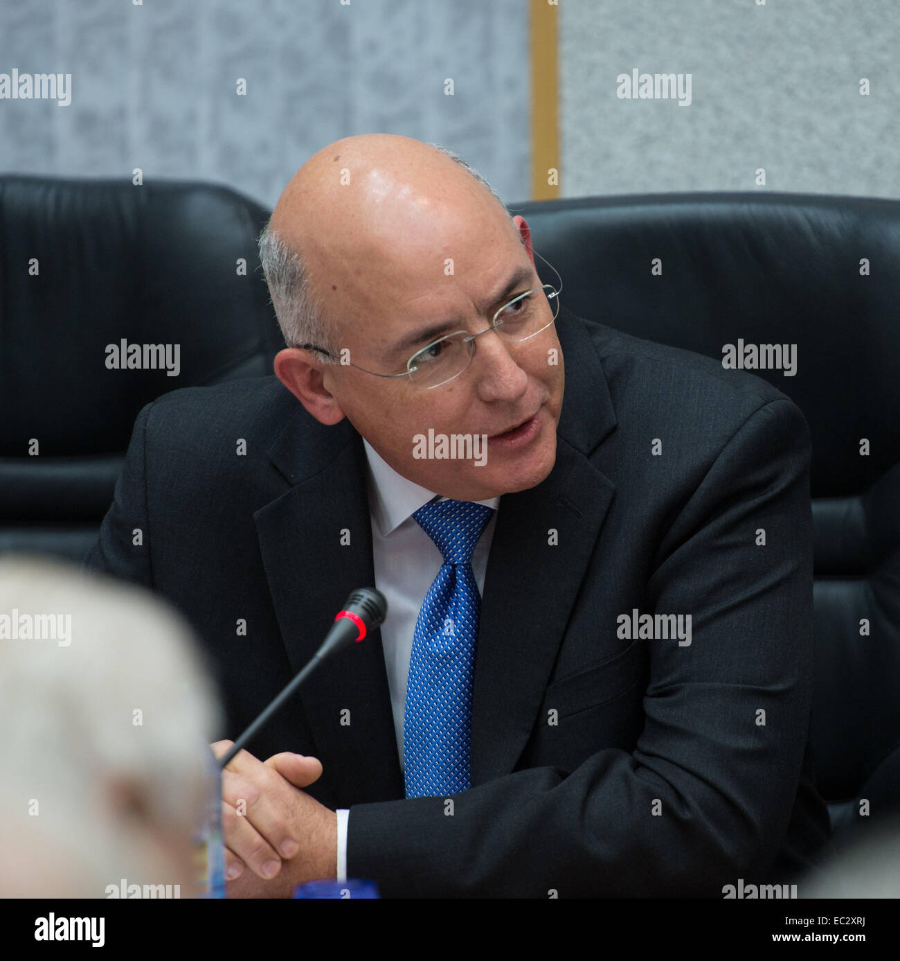 Michael Suffredini, NASA International Space Station Program Manager, speaks during the State Commission meeting - Stock Image