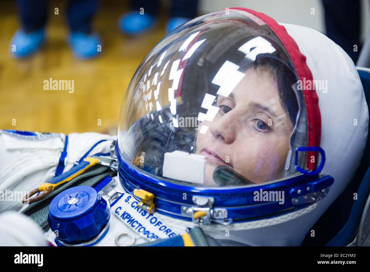 Expedition 42 Flight Engineer Samantha Cristoforetti of the European Space Agency (ESA) has her Russian Sokol suit - Stock Image