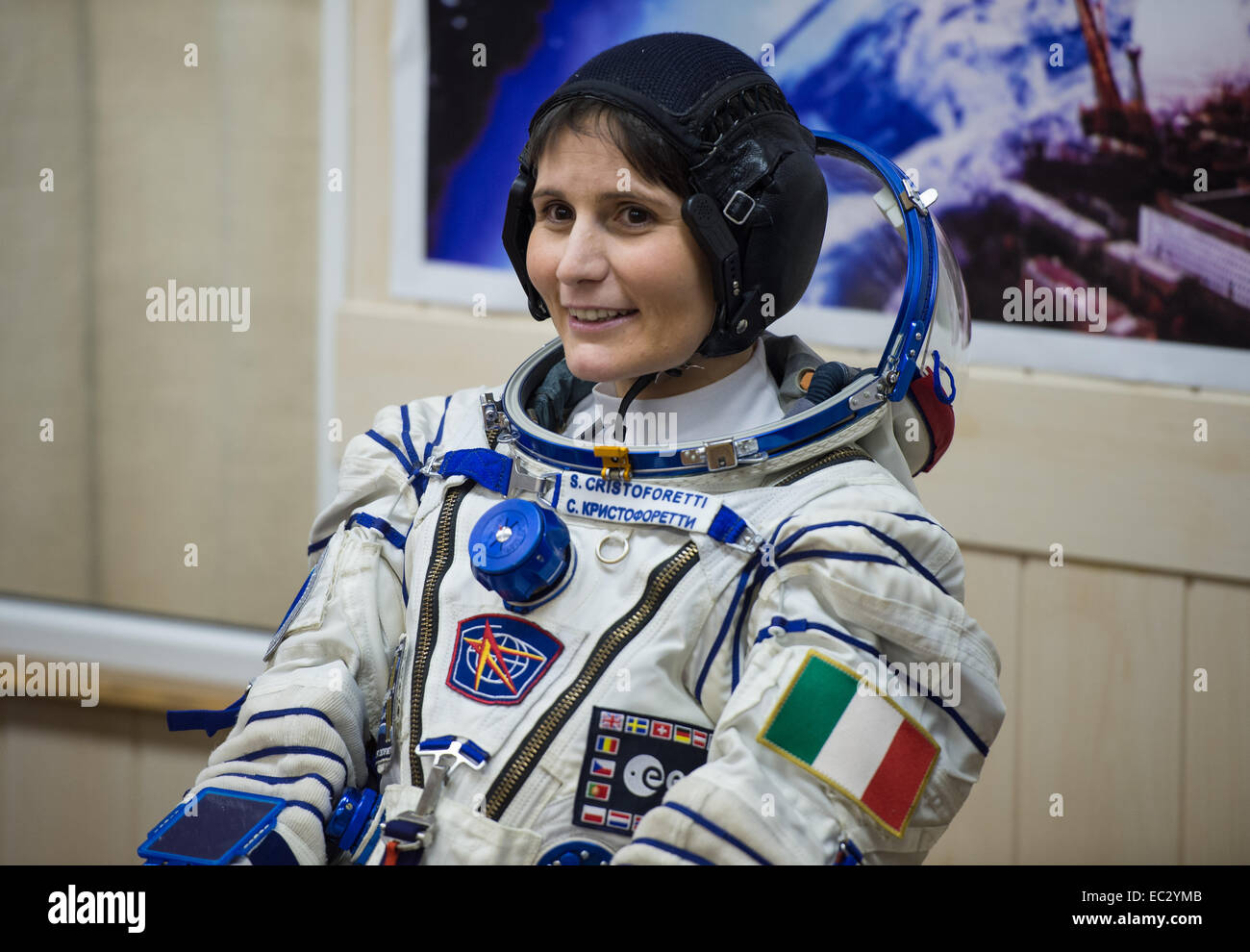 Expedition 42 Flight Engineer Samantha Cristoforetti of the European Space Agency (ESA) waits for a pressure check - Stock Image