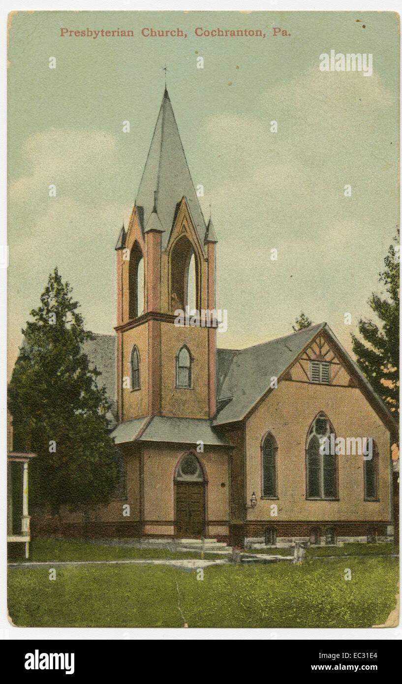 Presbyterian Church in Cochranton, Crawford County, Pennsylvania on a pre-1923 postcard. - Stock Image