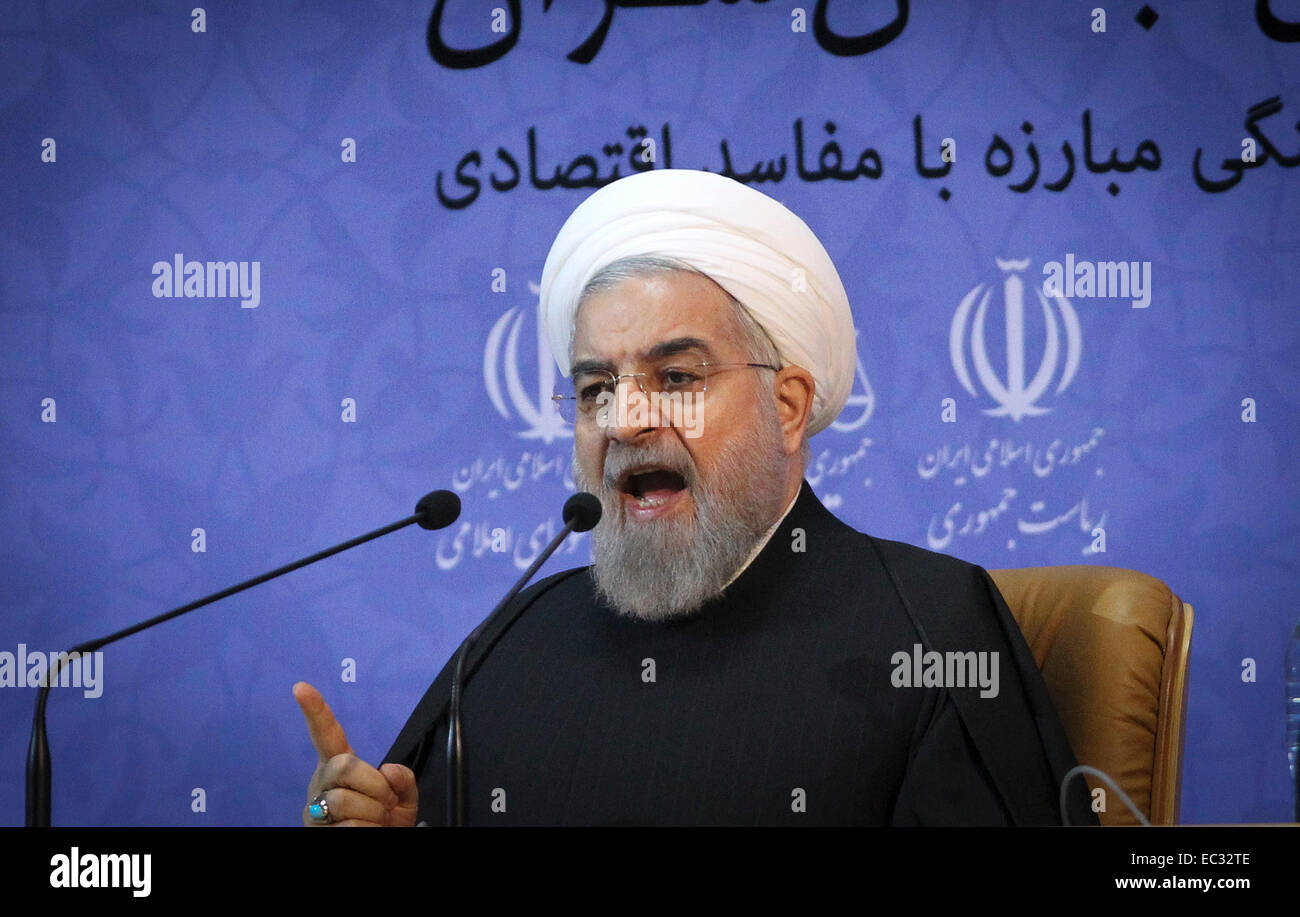 Tehran, Iran. 8th Dec, 2014. Iranian President Hassan Rouhani speaks during an anti-corruption conference in Tehran, - Stock Image