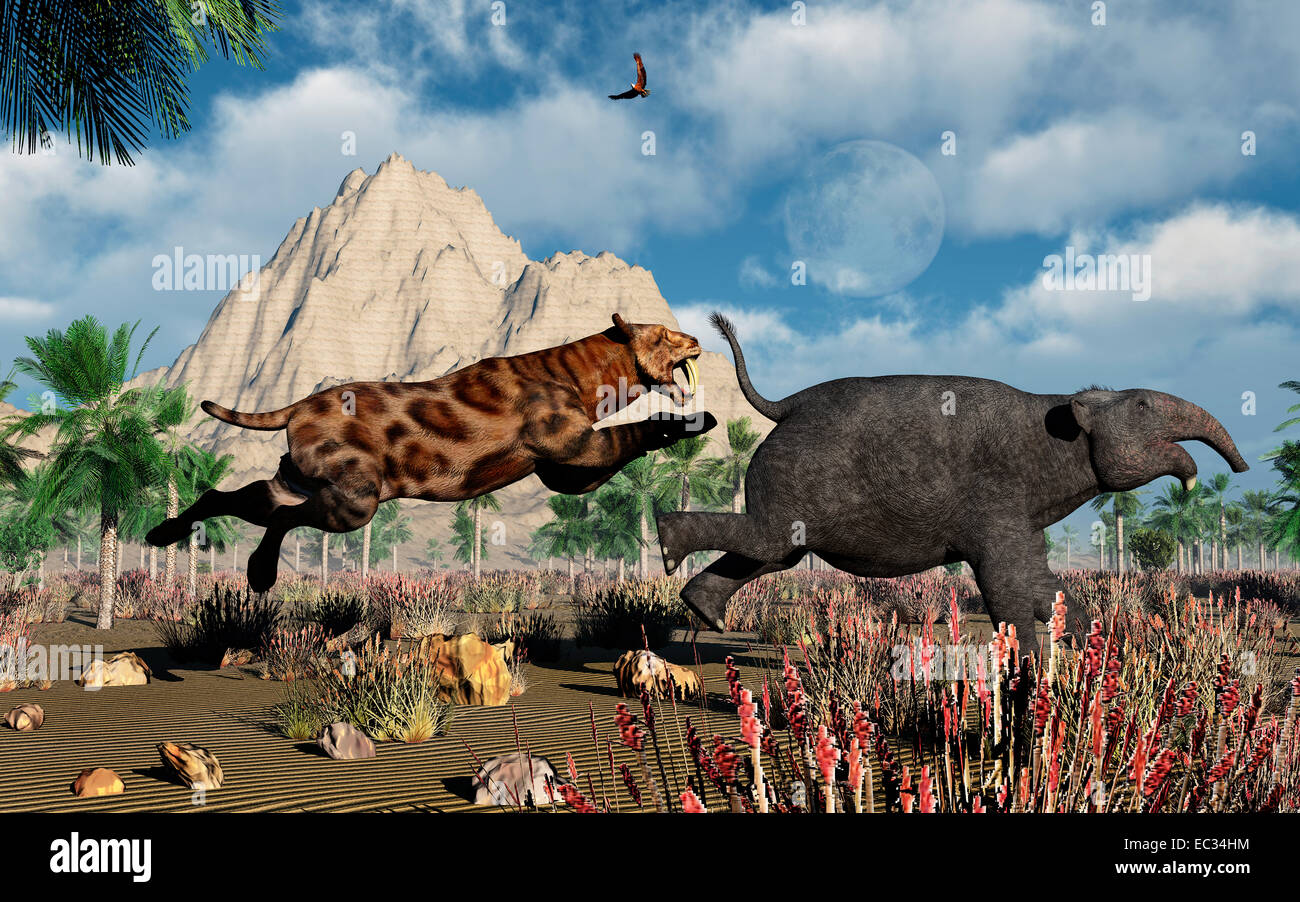 A Sabre Tooth Tiger, Hunting A Young Deinotherium. - Stock Image