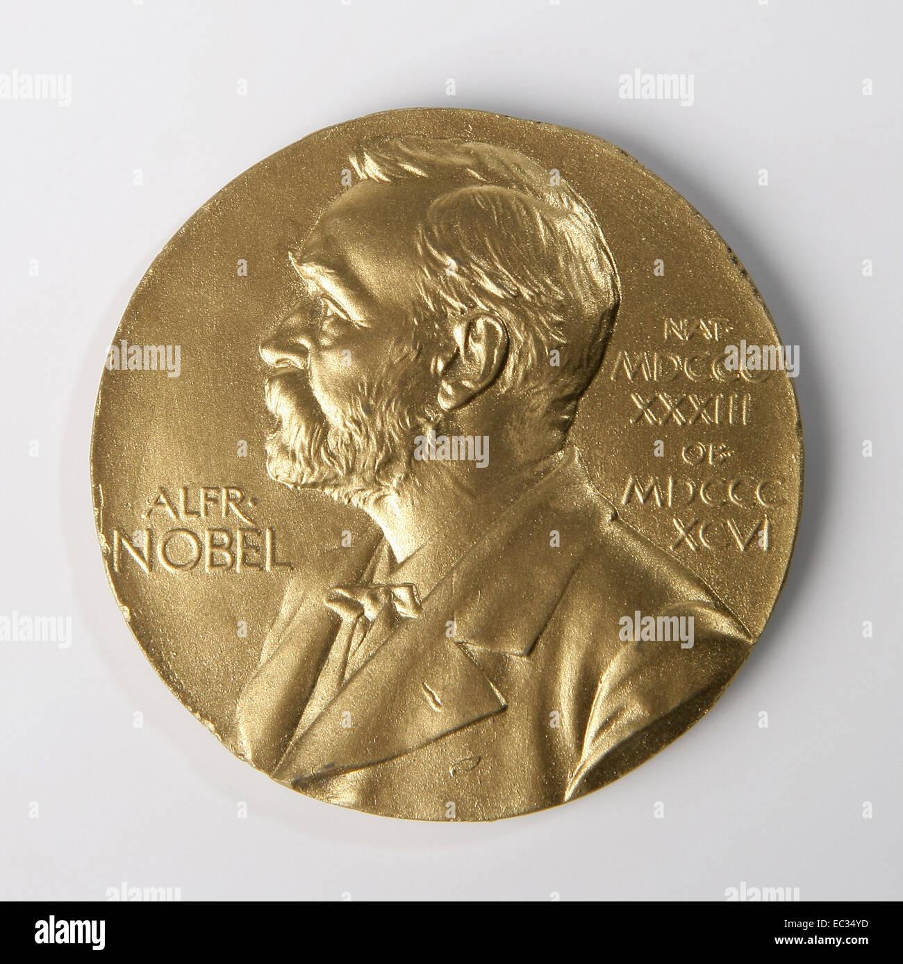 Nobel prize,Nobel,Prize,Medal,Alfred,Gold,Science,Front. - Stock Image