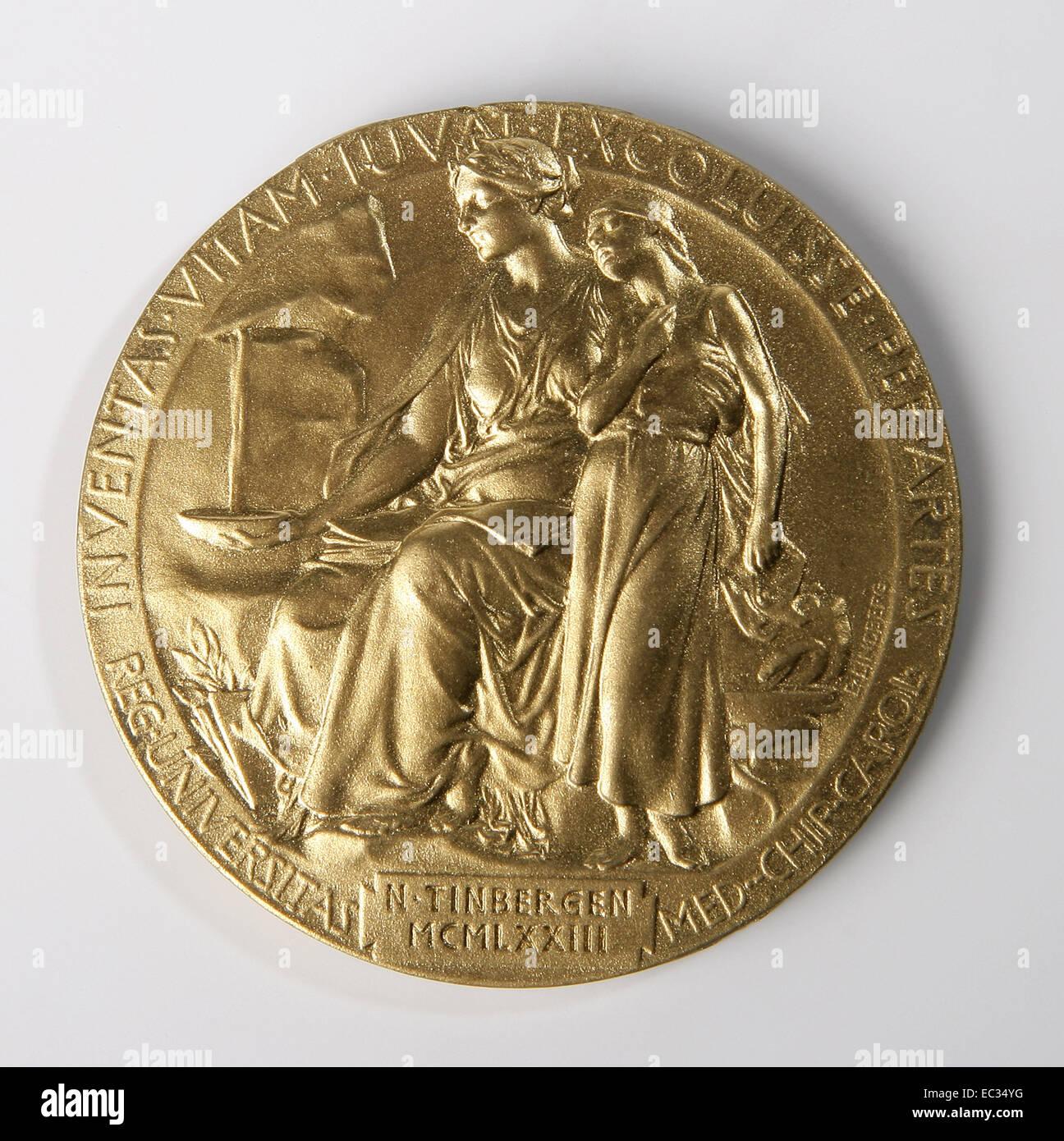 Nobel prize,Nobel,Prize,Medal,Alfred,Gold,Science,Niko Tinbergen,back,Ethologist. - Stock Image