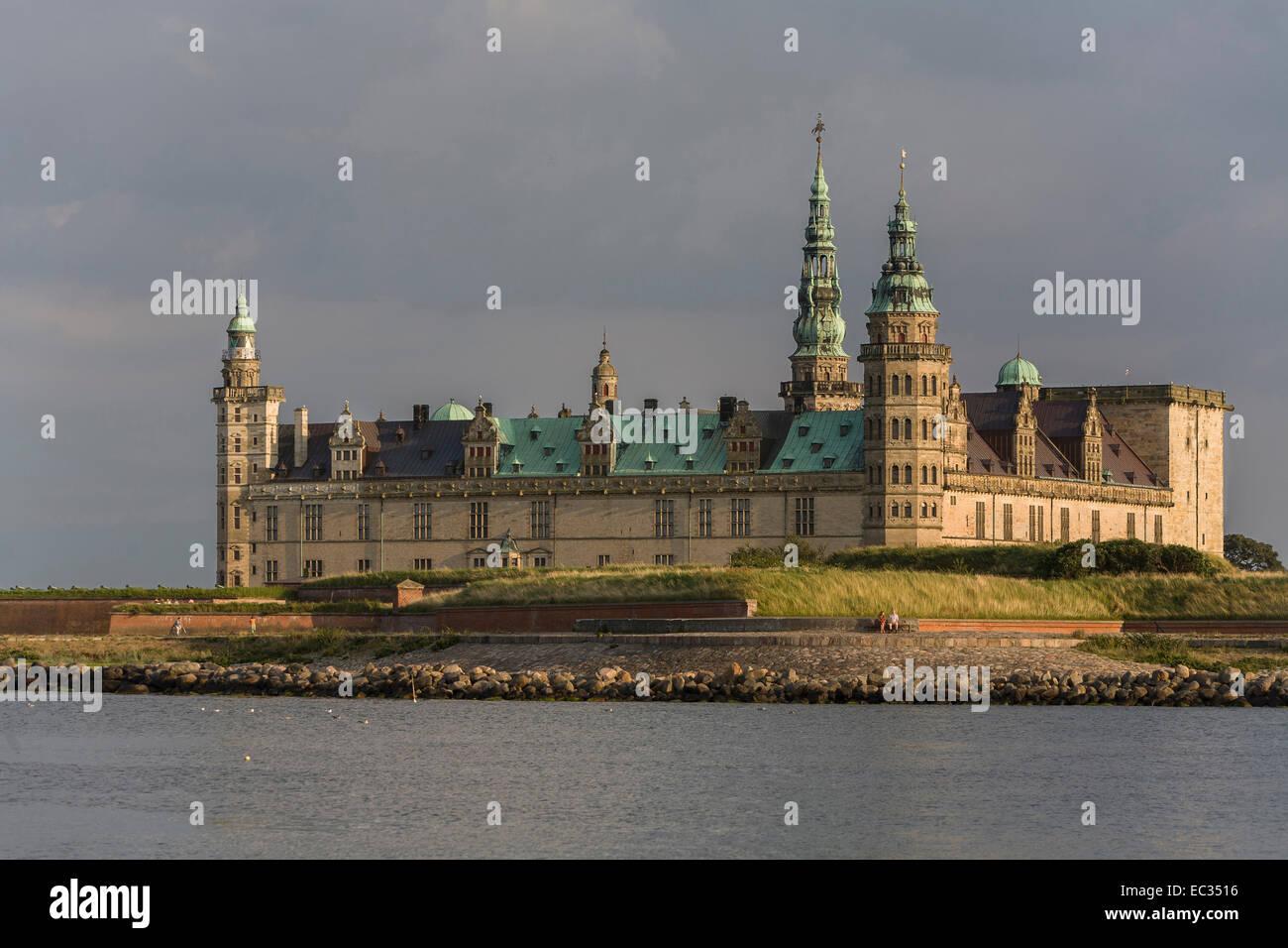 Denmark, Zealand, Helsingor, Kronborg Castle, Kattegat - Stock Image