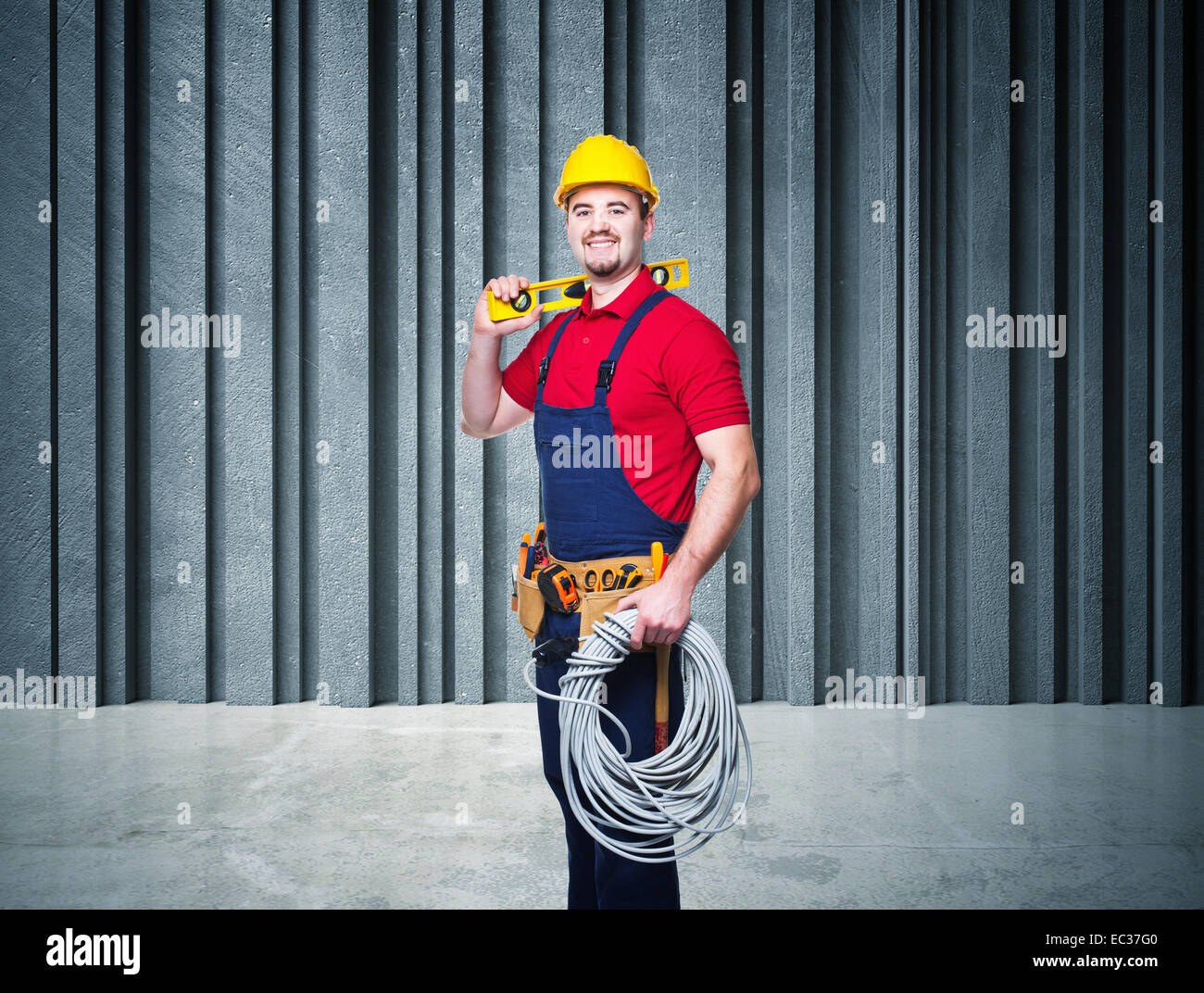man at work and 3d abstract background - Stock Image