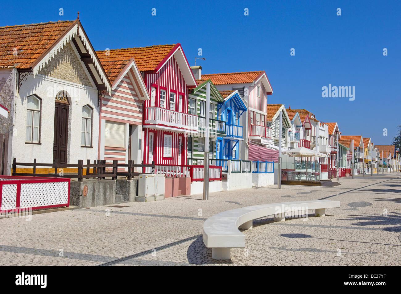 Palheiros, colourful houses, Costa Nova, Aveiro, Beiras region, Portugal, Europe Stock Photo