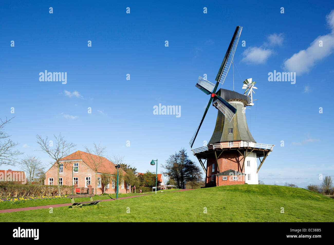 Green windmill, Greetsiel twin mills, Greetsiel, Krummhörn, East Frisia, Lower Saxony, Germany - Stock Image