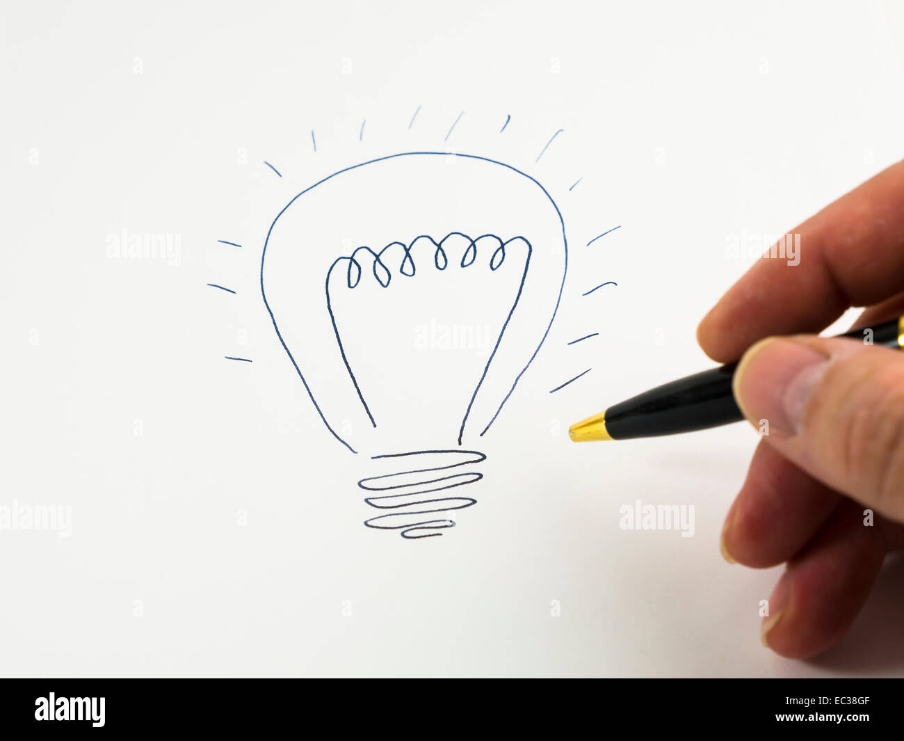 Hand drawing a light bulb, idea, inspiration, flash of inspiration, search for solutions, symbolic image - Stock Image