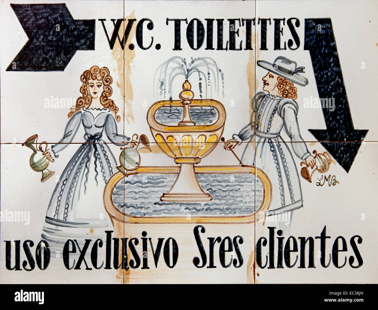 WC Toilet only for clients Sitges Spain Spanish - Stock Image