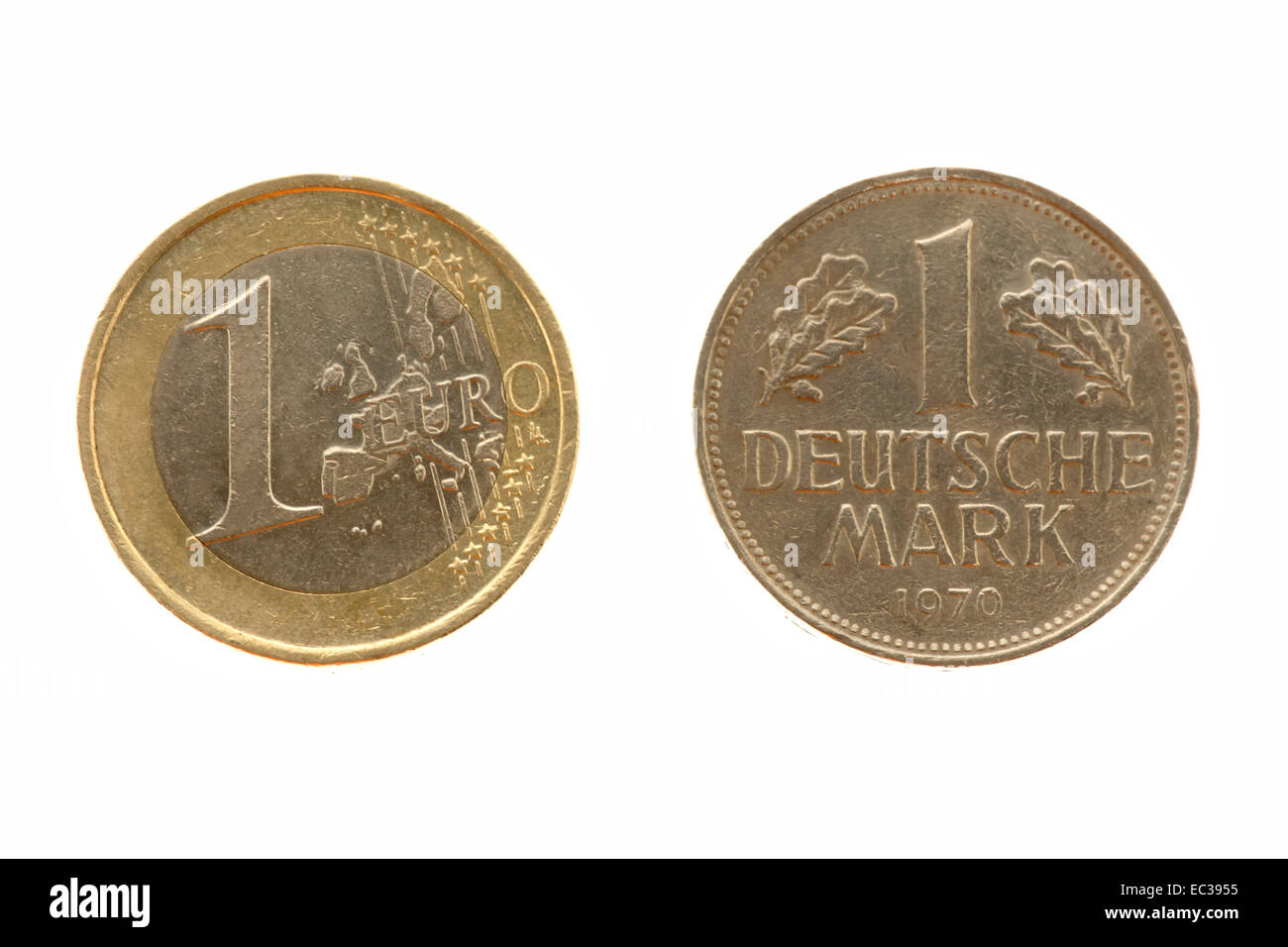 An 1 Euro coin and an 1 DM coin - Stock Image