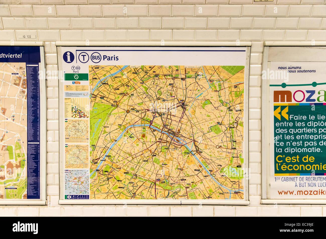 Bus Train Transport Map Paris France Stock Photo Alamy - Bus map paris france