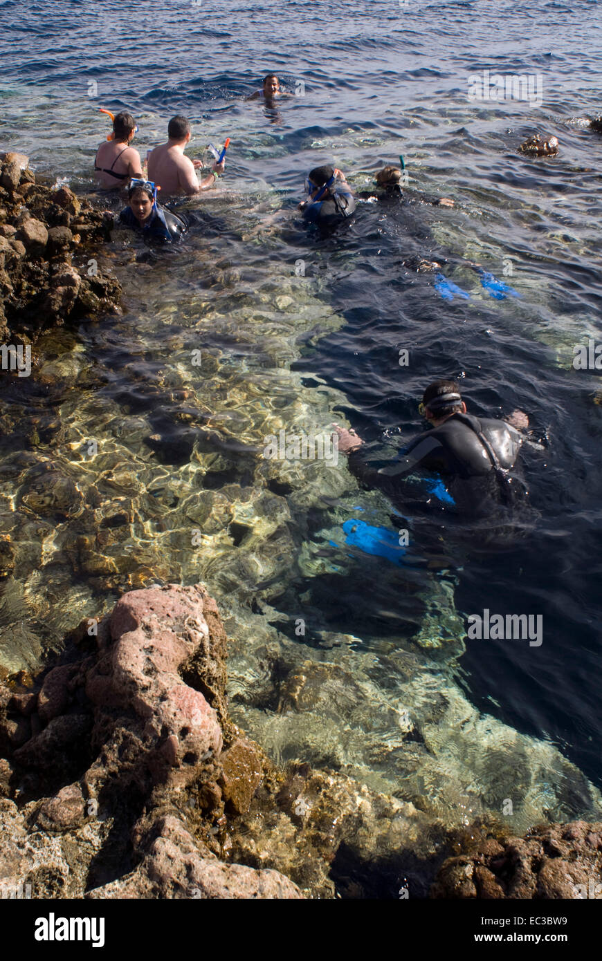 Blue Hole, Bells, Sinai, Egypt Holidaymaker snorkeling in the ocean - Stock Image