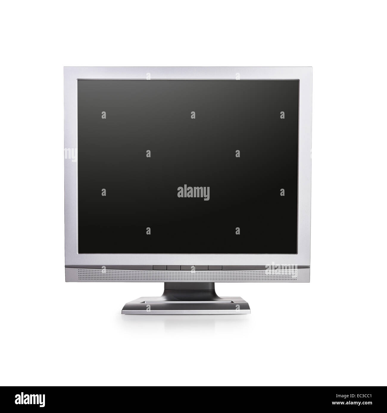 Computer monitor with blank screen on white background. Copy space. Object with clipping path - Stock Image