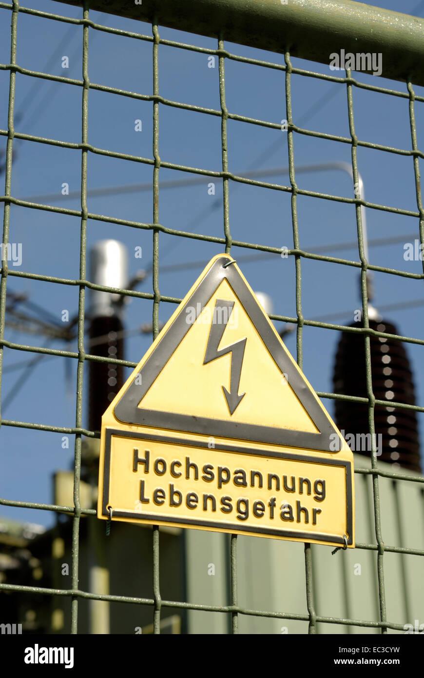 Sign High Voltage, Mortal Danger - Stock Image