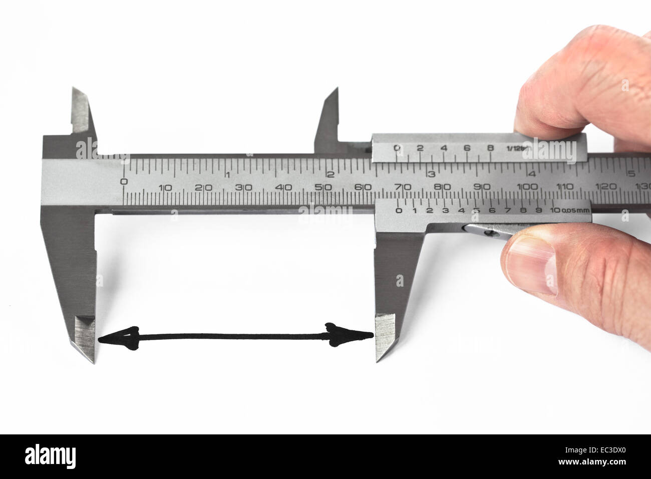 Man measuring distance with caliper - Stock Image