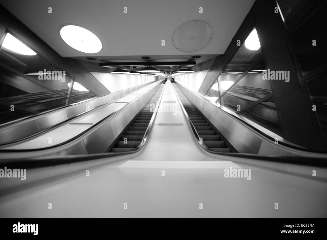 Escalator, airport Atlante, Sweden Stock Photo