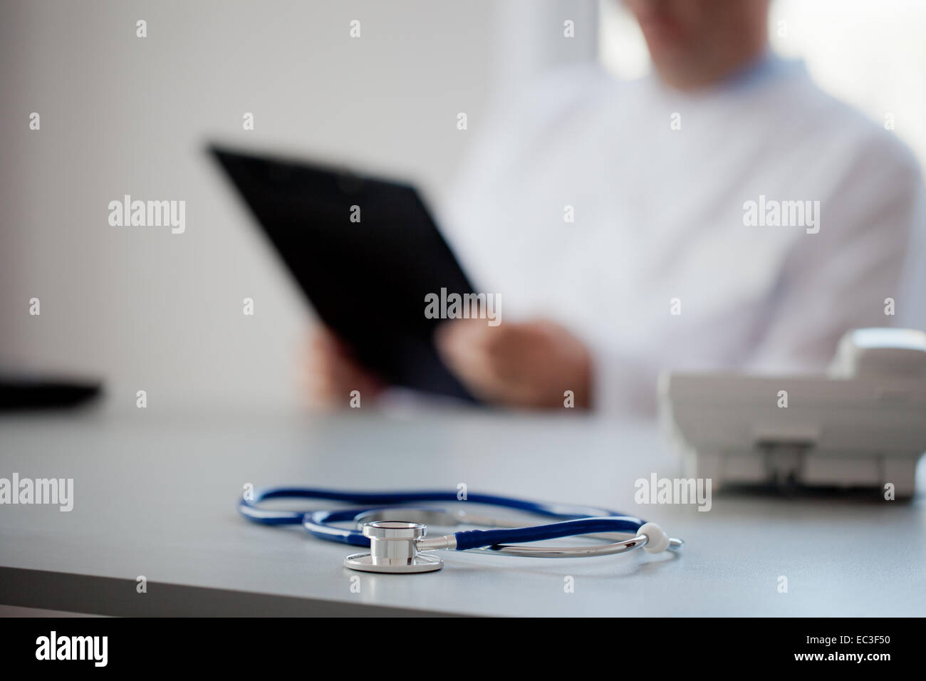 Doctor Is Reviewing A Medical Test Results. - Stock Image