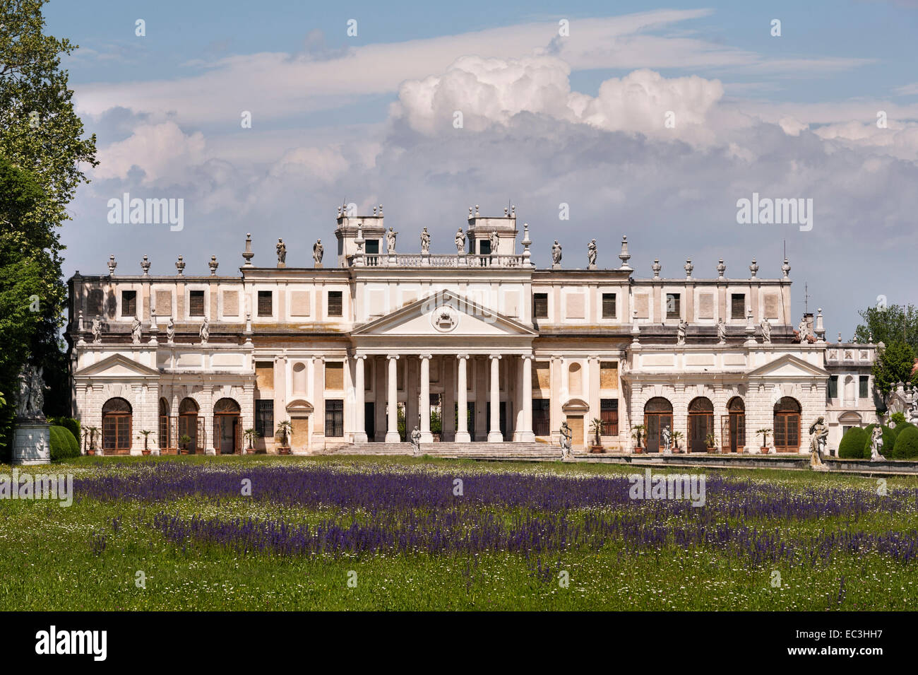 Villa Pisani, Stra, Italy. The pavilion and stables at the far end of the canal, built in the 1740's by Girolamo - Stock Image