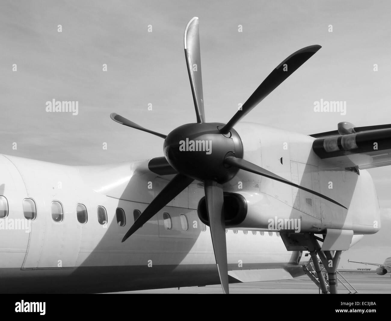 Close-up of an aircraft propeller. - Stock Image