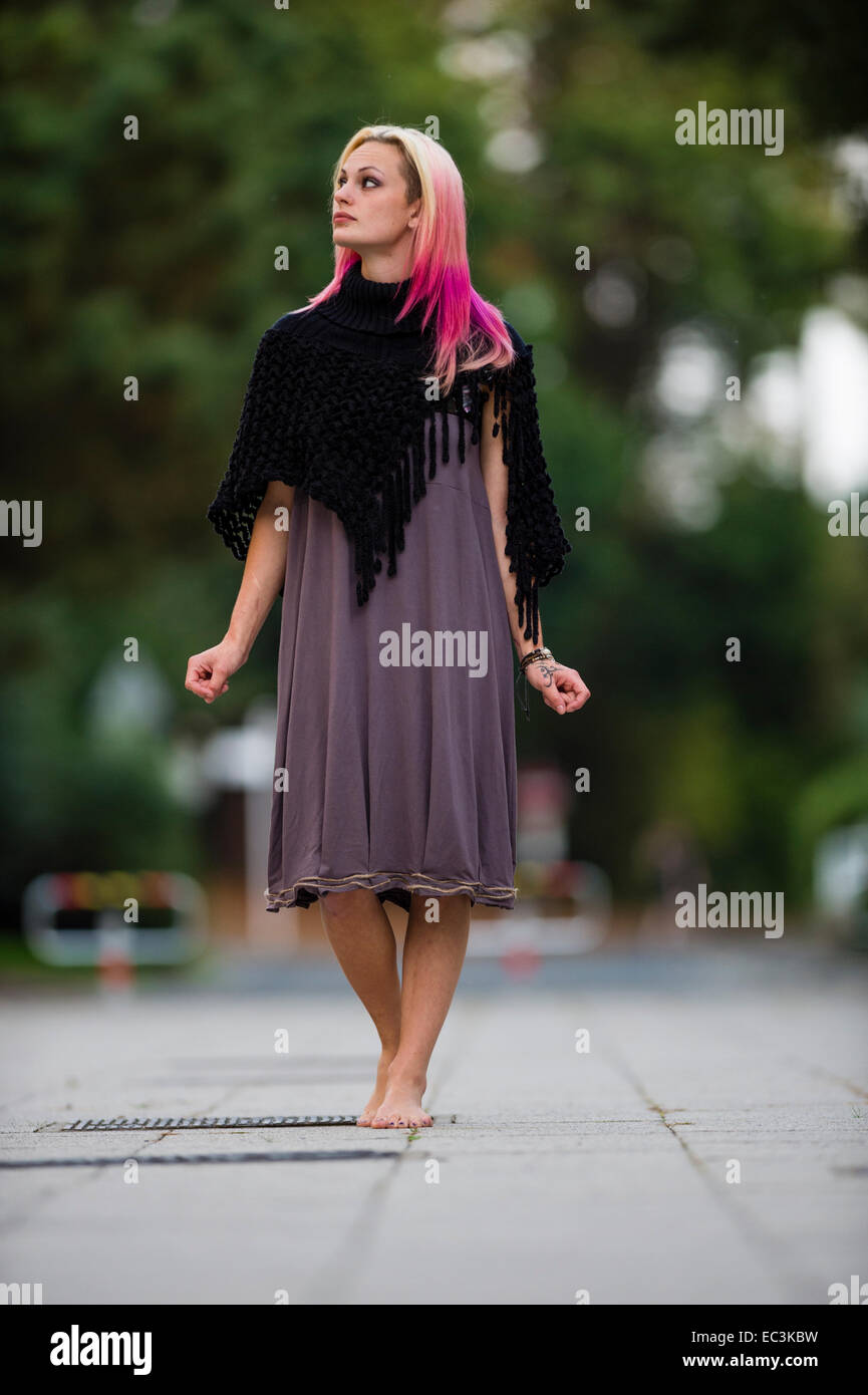 A Young Woman Teenage Girl Modeling Walking Barefoot On A Warm Summer Stock Photo 76298429 Alamy
