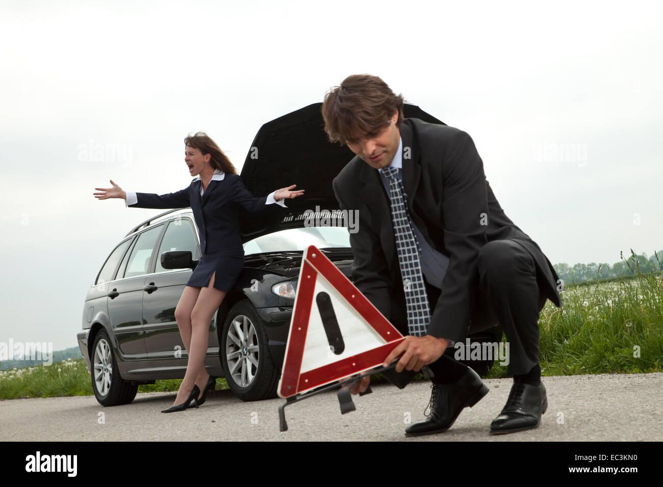 Car broke down - Stock Image
