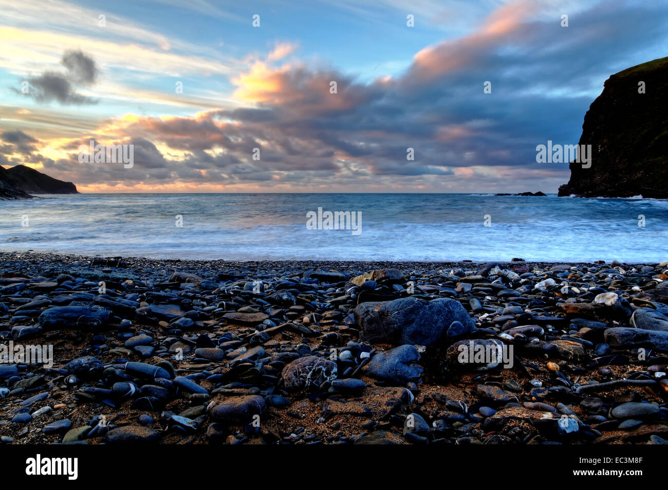Sunset at Crackington Haven, North Cornwall Stock Photo