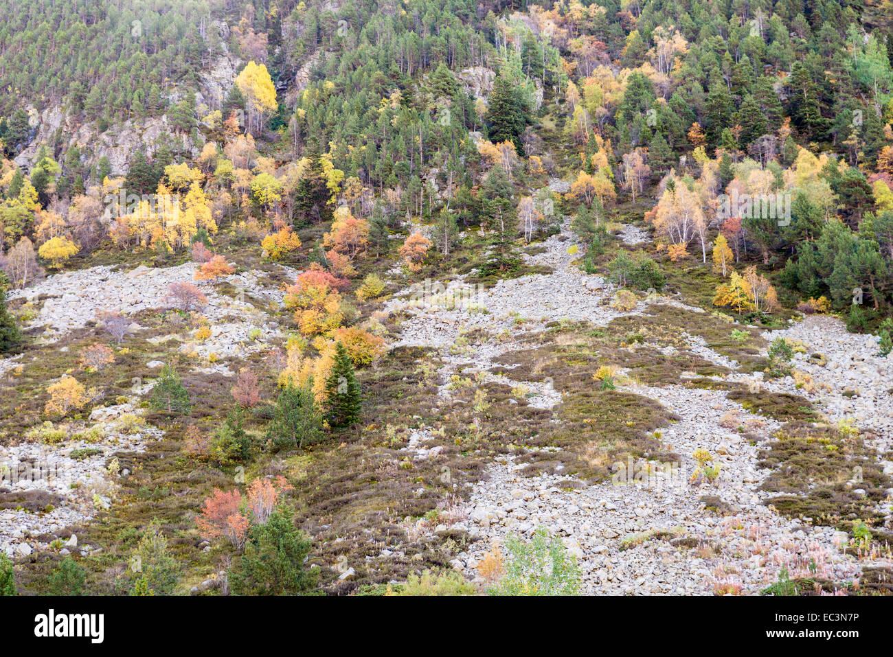 mountains in autumn in Andorra La Vella Stock Photo