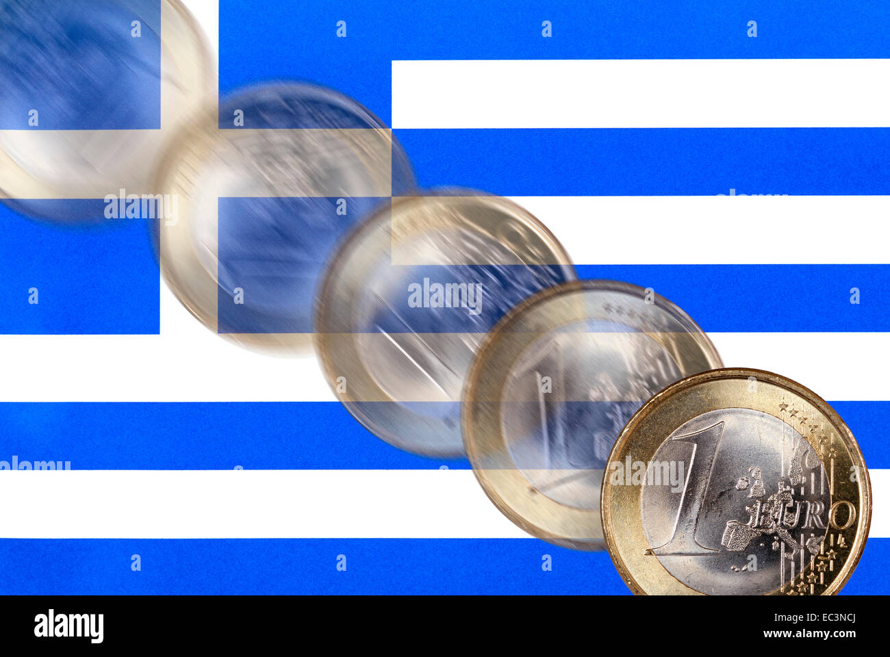 Flag of Greece and euro exchange rate decline - Stock Image