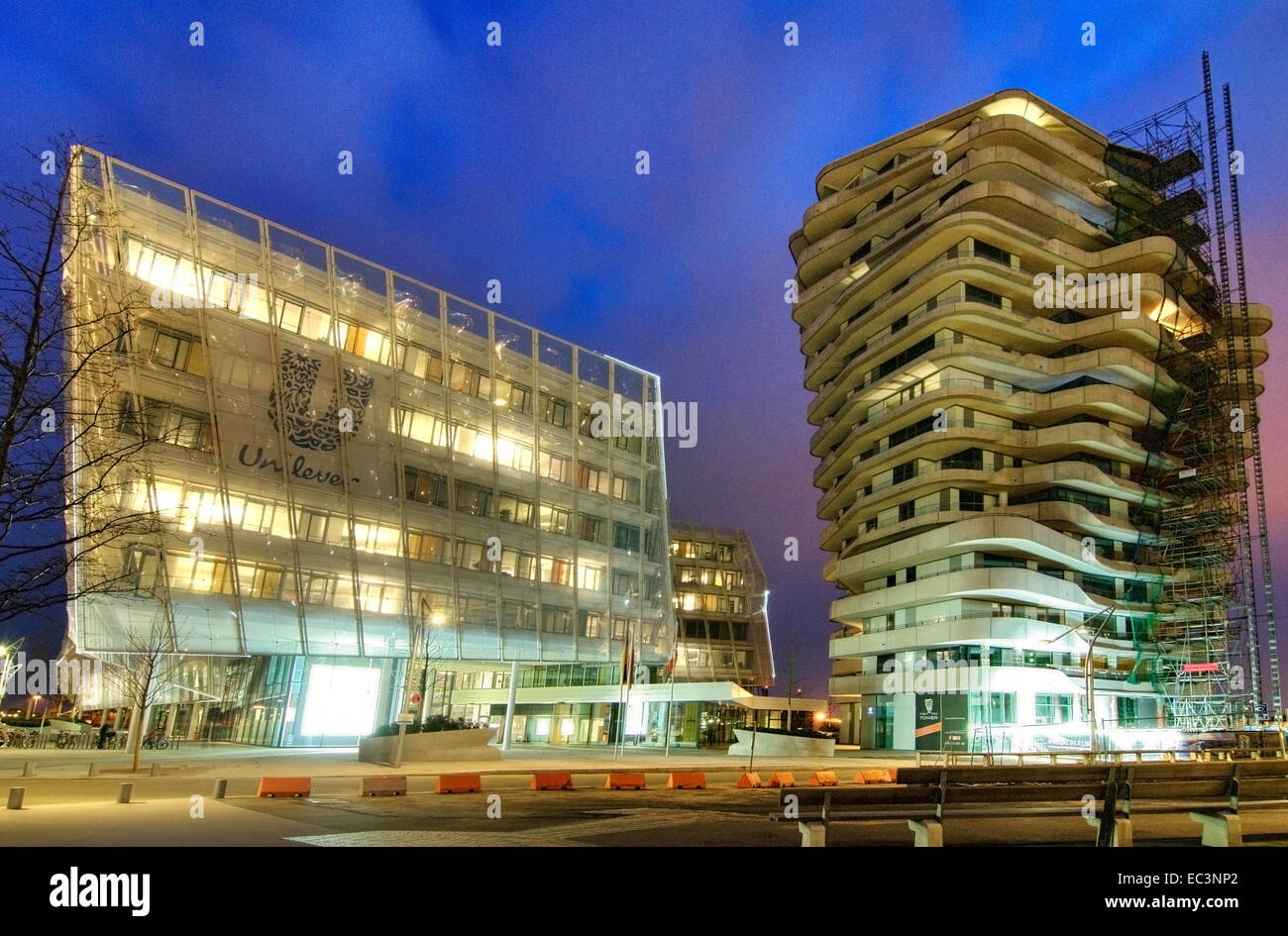 Unilever Building and Marco Polo Tower in Hamburg Hafencity, Germany - Stock Image